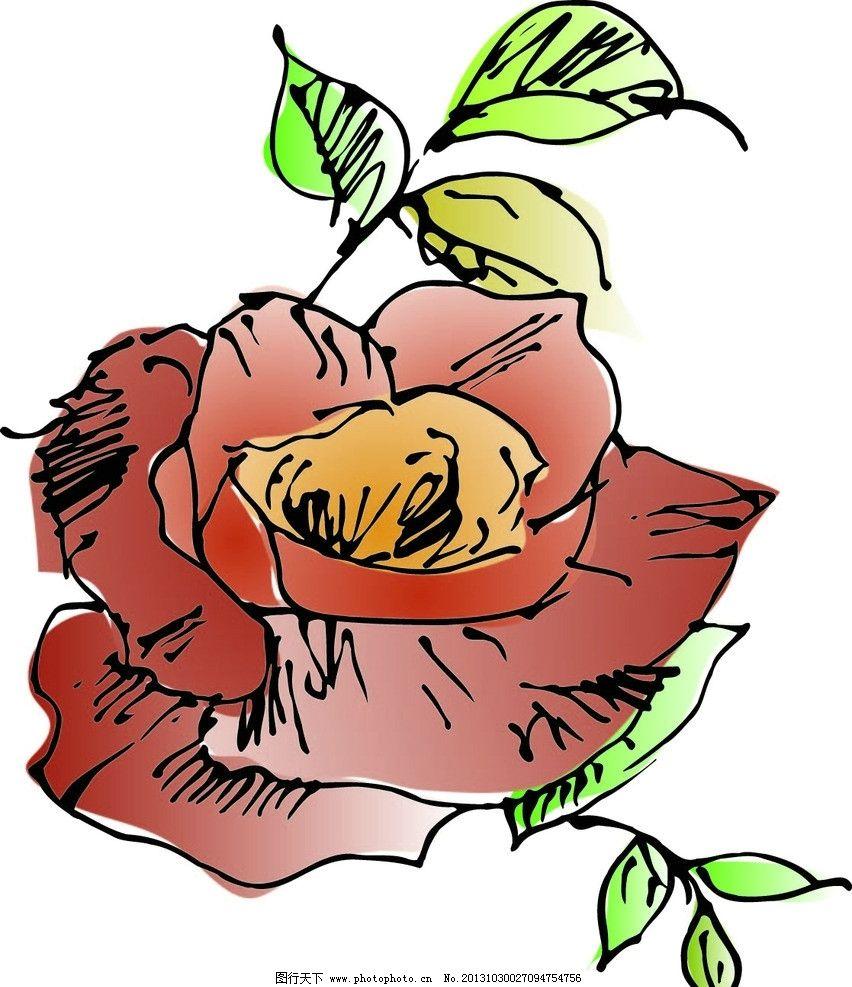 手绘玫瑰花线描矢量图图片