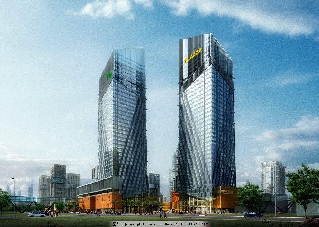 建筑效果图 办公 现代 建筑        高层 高清 透视 双子楼 建筑设计