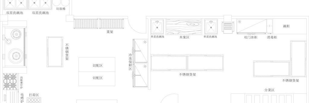 餐厅厨房布置图图片
