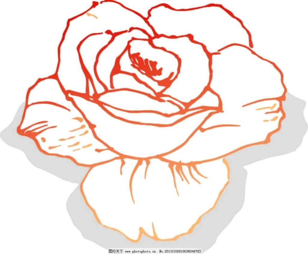 线描玫瑰花矢量图图片