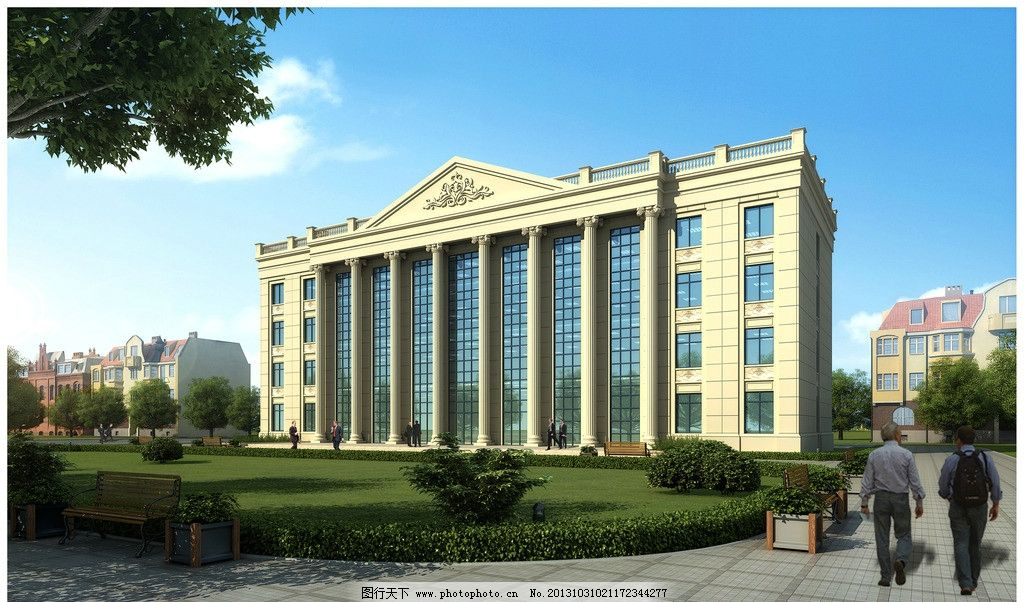 办公楼 四层 办公 欧式 罗马柱 幕墙 3d作品 3d设计 设计 72dpi jpg