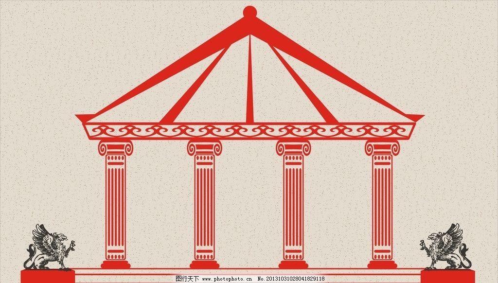 欧式建筑 线型 门柱 神兽 矢量 底纹 欧式风格 线型建筑 城市建筑图片