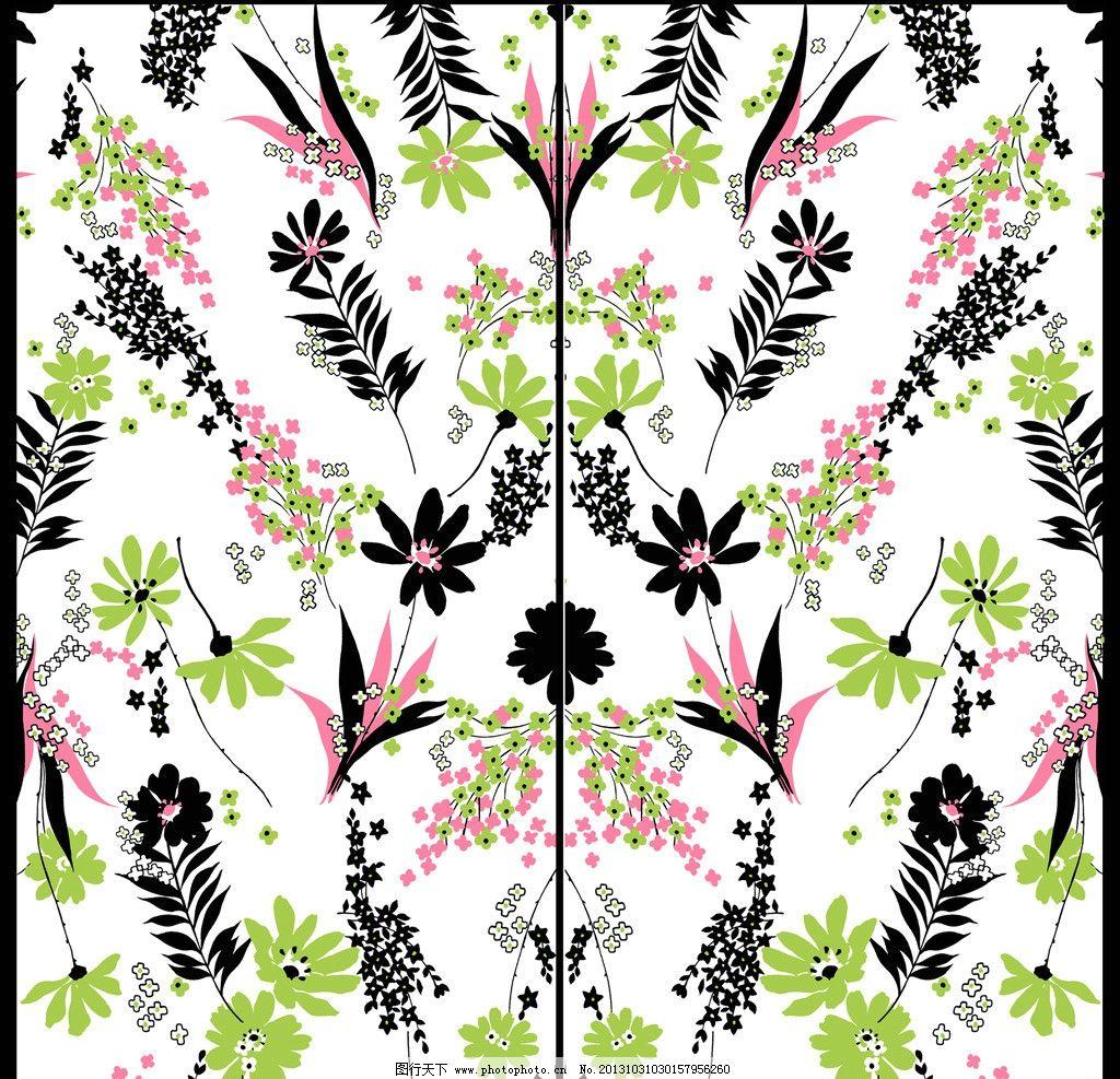 移门设计 移门装饰 花藤 手绘设计 手绘花朵 底纹 移门花朵 彩色花朵