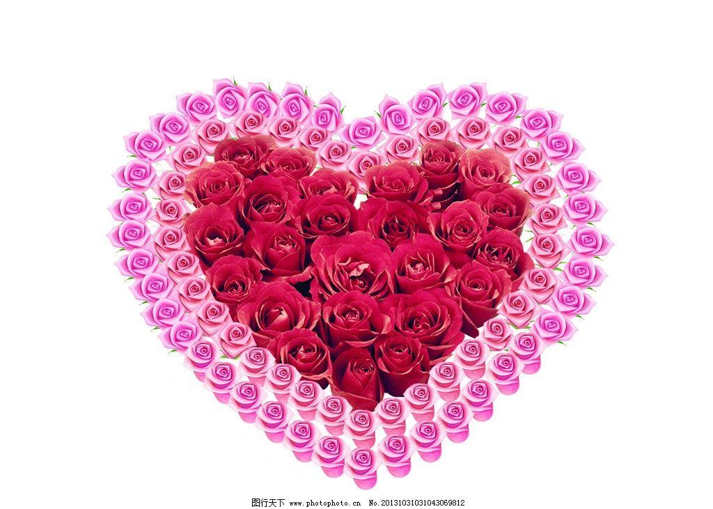 玫瑰花 心 粉玫瑰 红玫瑰 其他模版 广告设计模板 源文件图片