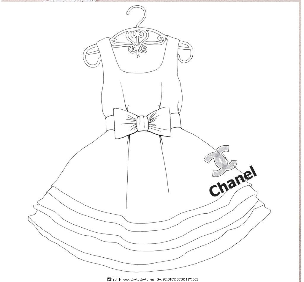 手绘蓬蓬裙 插画 连衣裙 可爱 公主 衣架 源文件