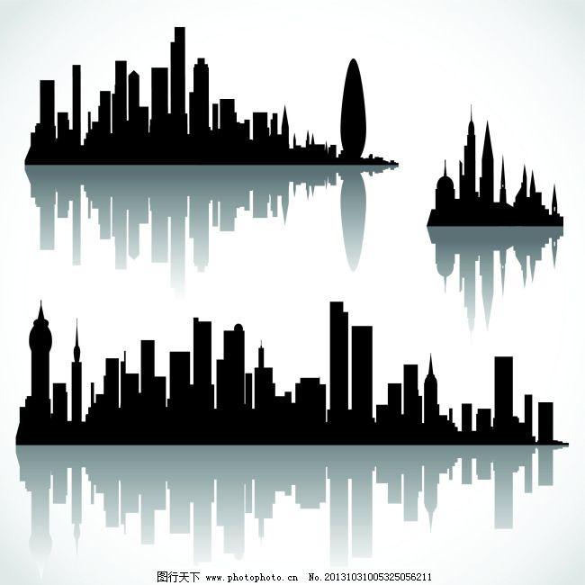 矢量黑白城市剪影