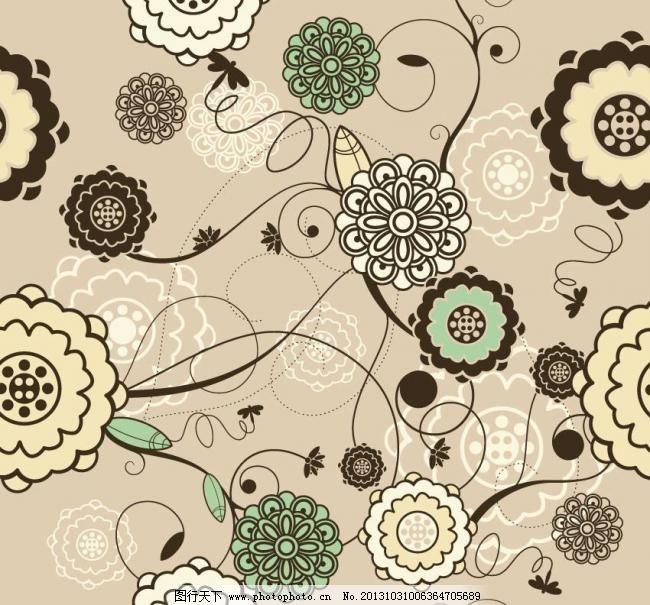 手绘古典花纹 底纹图片