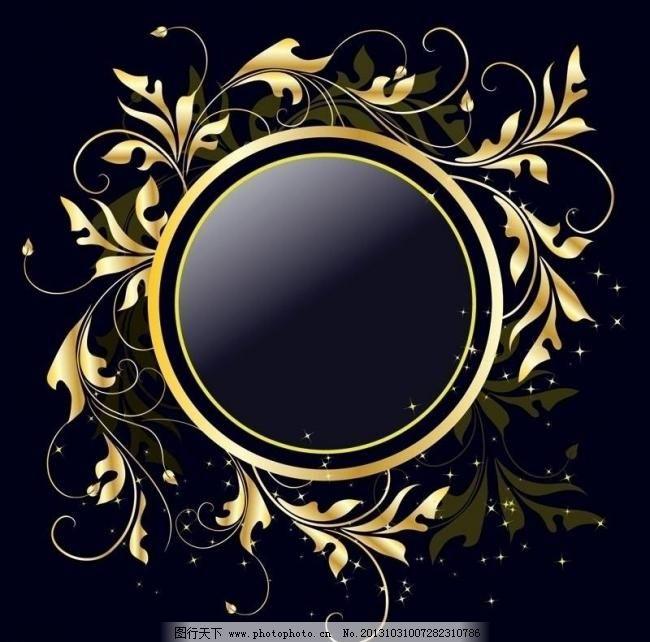 欧式金色圆形边框素材