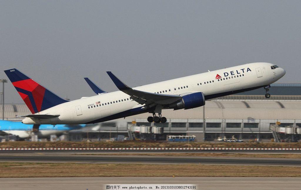 达美航空波音767 航空 民航 波音 飞机 起飞 跑道 候机楼 交通工具