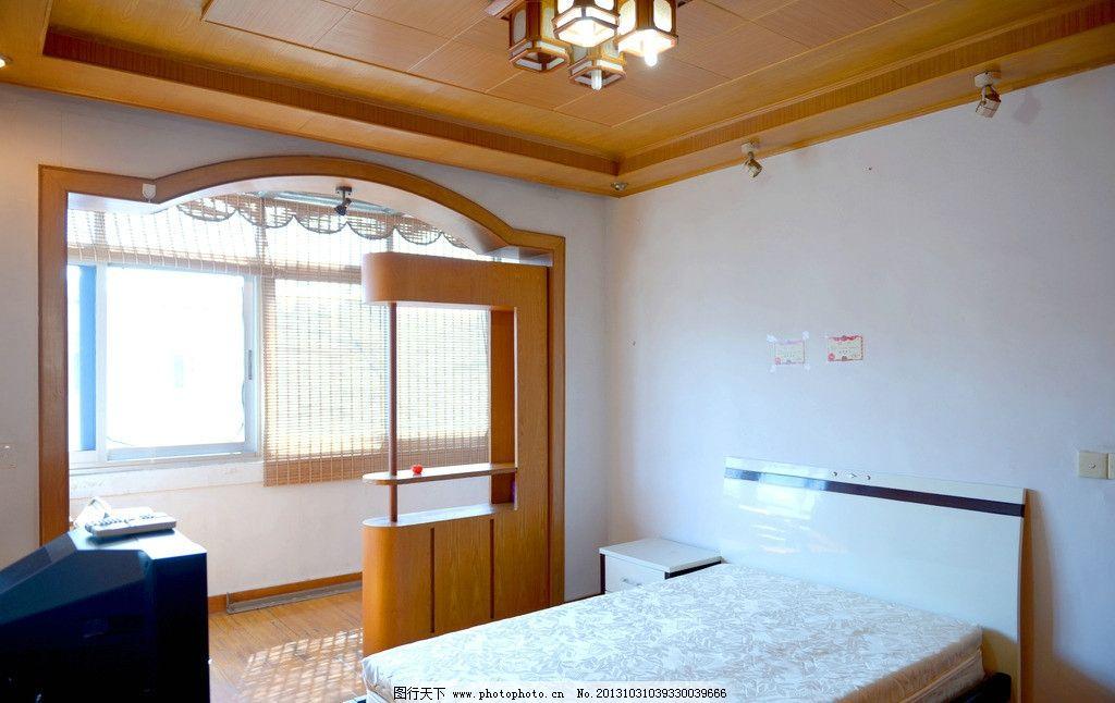主卧 床 衣柜 电视 阳台 空调 室内摄影 建筑园林 摄影 300dpi jpg