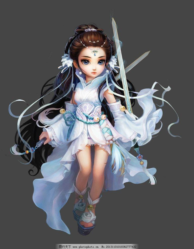 小龙女 美女 手绘美女 武侠 可爱 q版人物 剑 神雕侠侣 唯美 古装