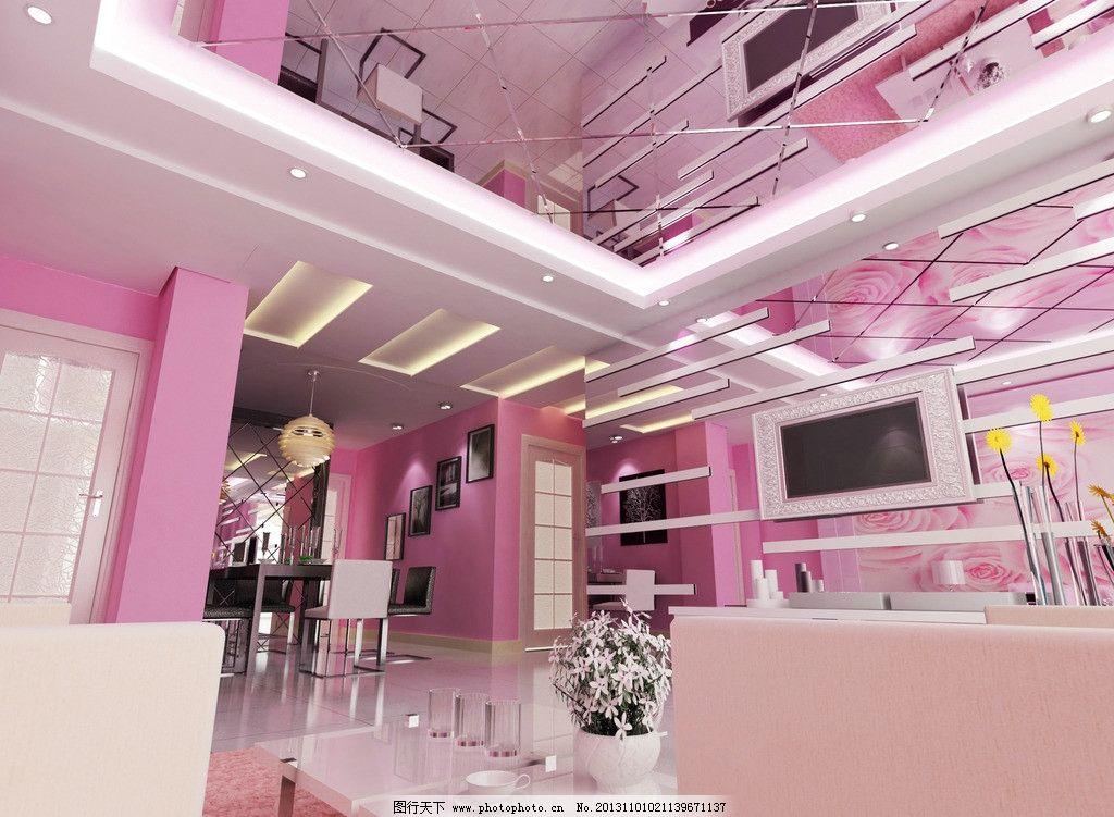 沙发 吊顶 镜面 电视 餐厅      家装效果图 3d家装中式效果图精选 3d