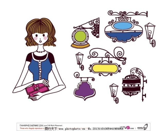 韩国手绘时尚女性生活卡通
