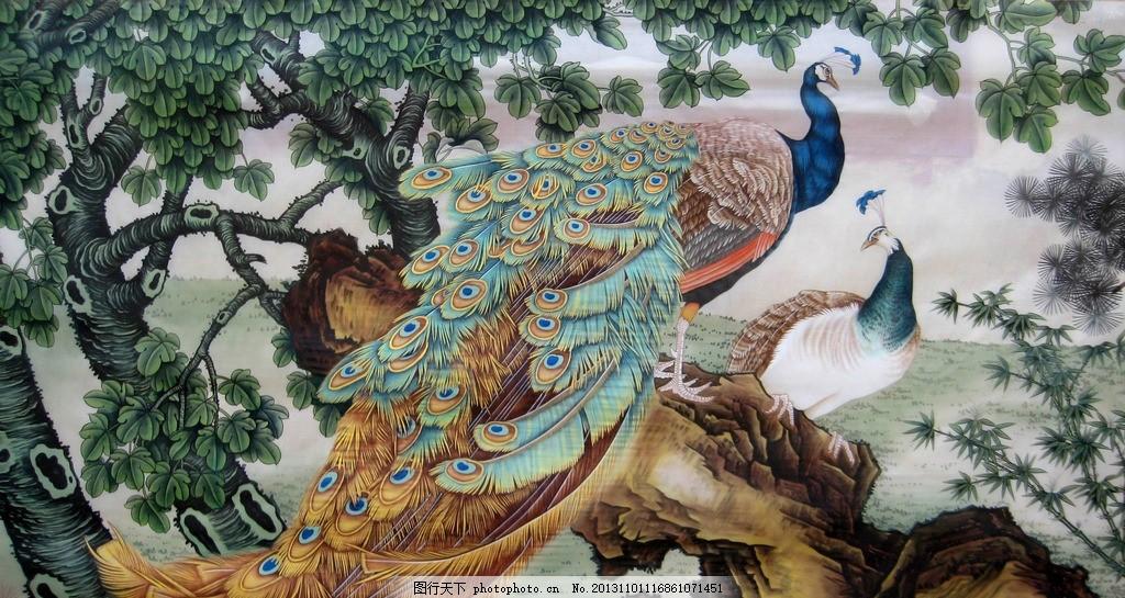 孔雀 动物 飞禽 羽翼 羽毛 山石 山竹 树木 树枝 树叶 梧桐 古典 国