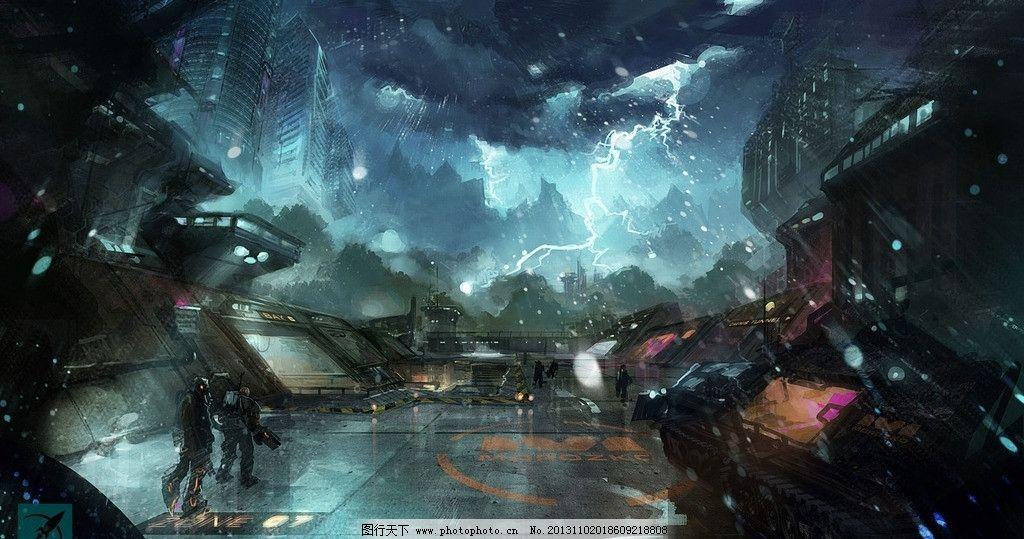 游戏场景 雷电 闪电 大雨 游戏风景 手绘风景 动漫动画