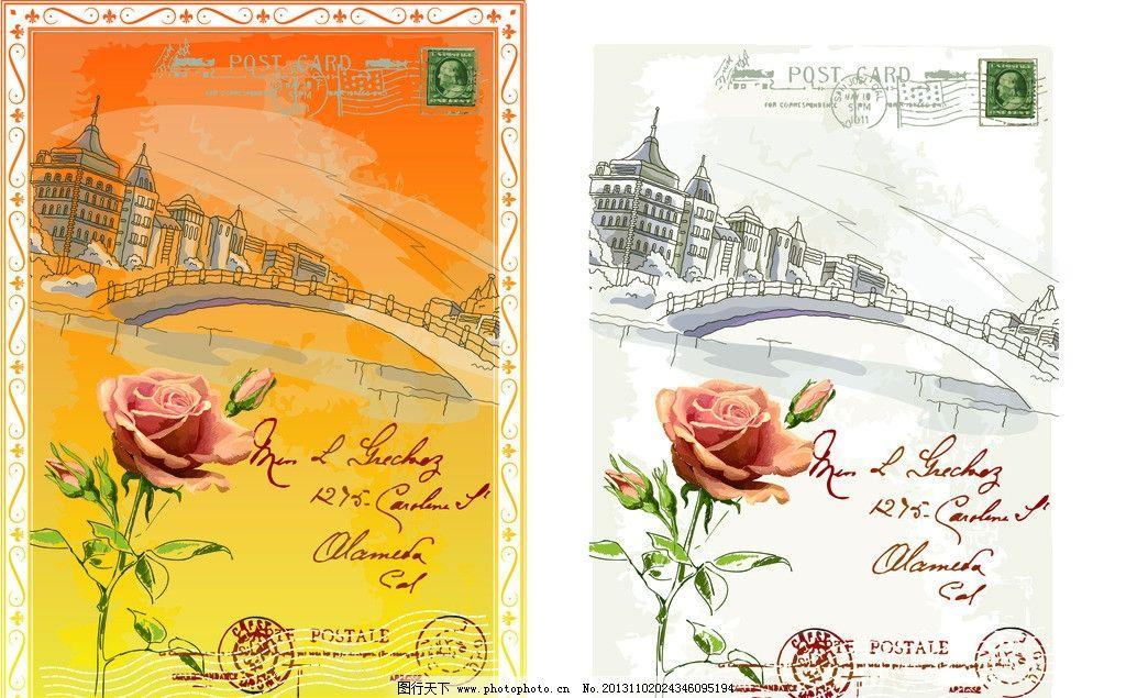 城市 复古 邮票 手绘 花纹 矢量