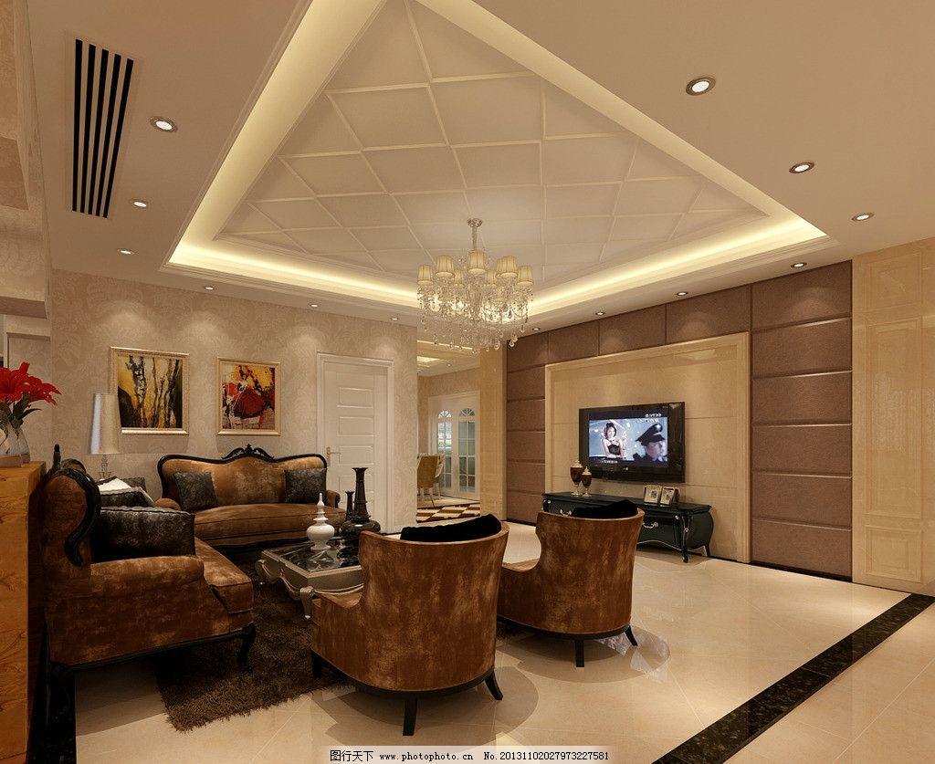 豪华客厅 室内设计 豪华 简欧 餐厅      沙发 电视机 原创 环境设计