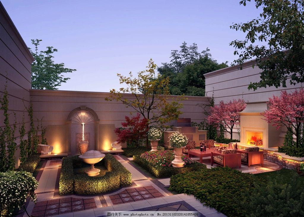 别墅庭院夜景环境图片