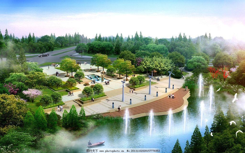 湖边休闲广场景观环境图片