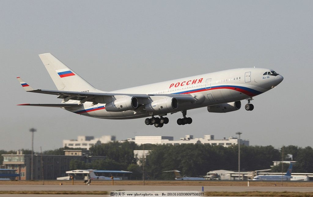 俄罗斯伊尔96专机 航空 民航 伊尔 飞机 跑道 起飞 交通工具 现代科技