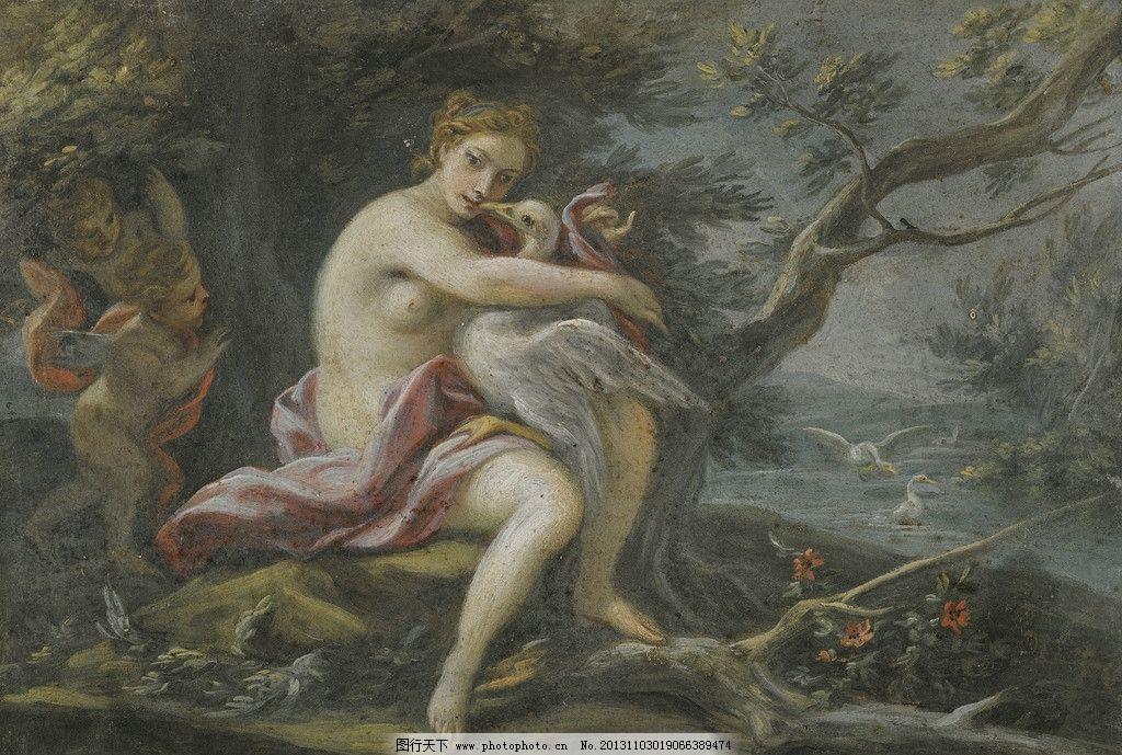 神话故事 天使 在丛林中 女神 怀抱 圣鸟 古典油画 油画 绘画书法