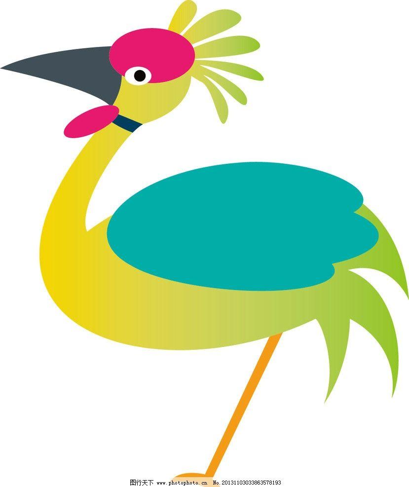 丹顶鹤 印花 布纹 卡通 儿童 服装印花 图案 图形设计 创意插画