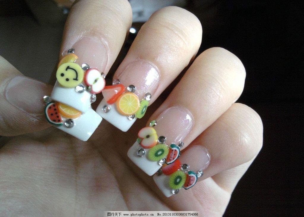 美甲素材 水果 西瓜 苹果 笑脸 橙子 甲图片素材下载 指甲 护理 手部