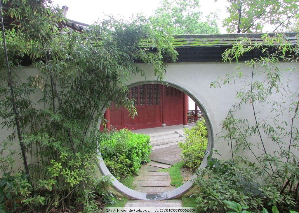 西湖竹子 福州 西湖公园 竹子 院门 石板路 建筑 园林建筑 建筑园林
