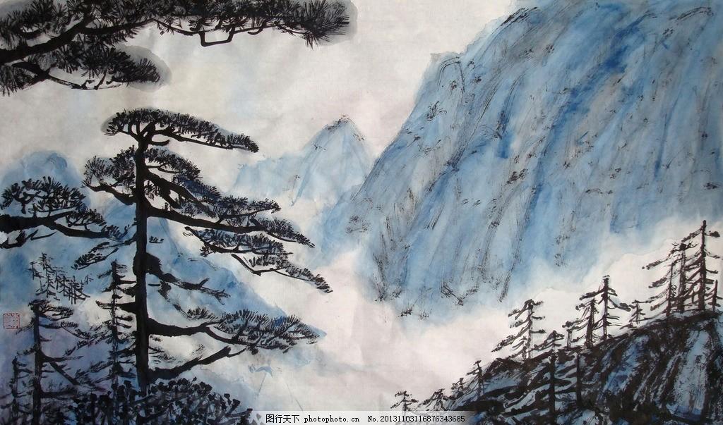 国画山水 山峦 山石 松树 树木 古典 水墨画 彩墨画 装饰 素材 民族风