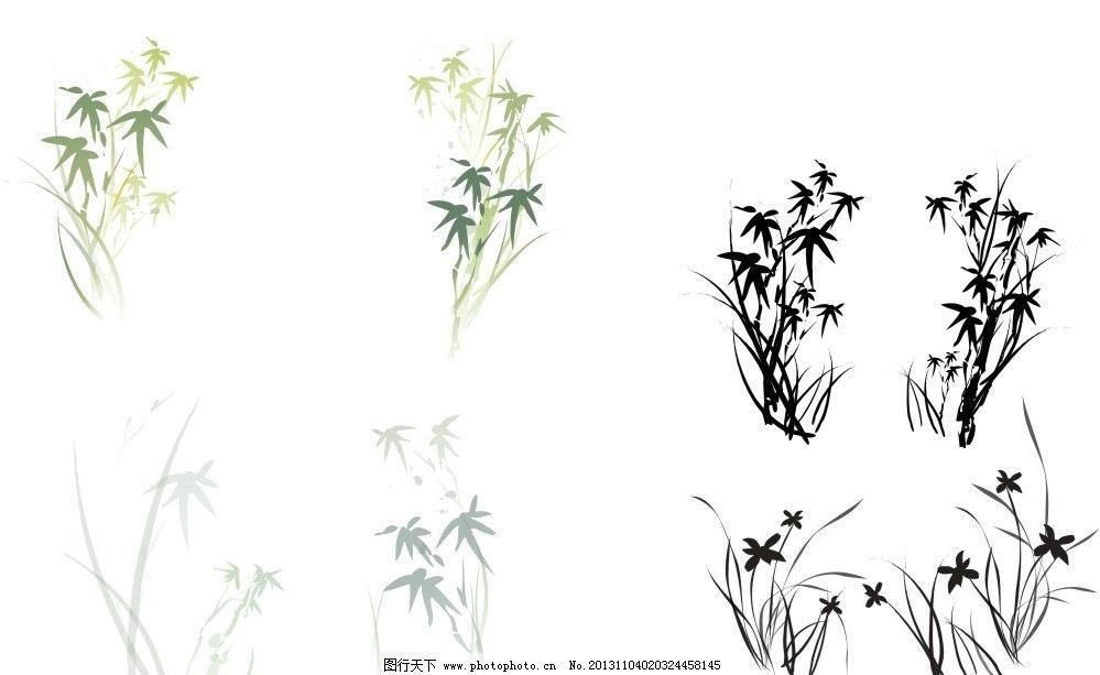 竹子 花草素材 竹子素材 竹子花草素材 竹子花草矢量图 花纹花边