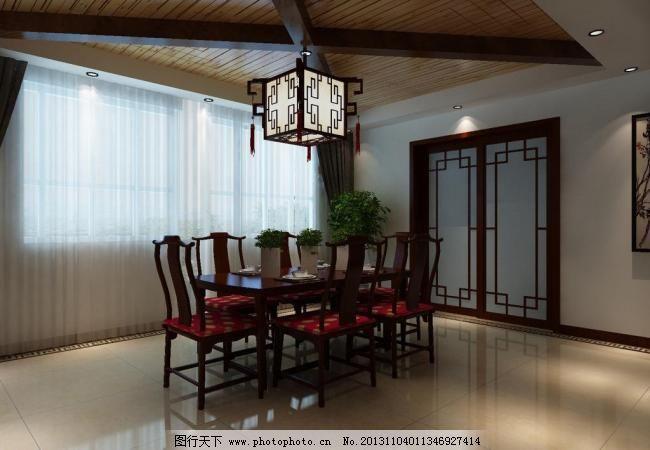 中式餐厅 家装 室内设计 推拉门 中式餐厅设计素材 中式餐厅模板下载