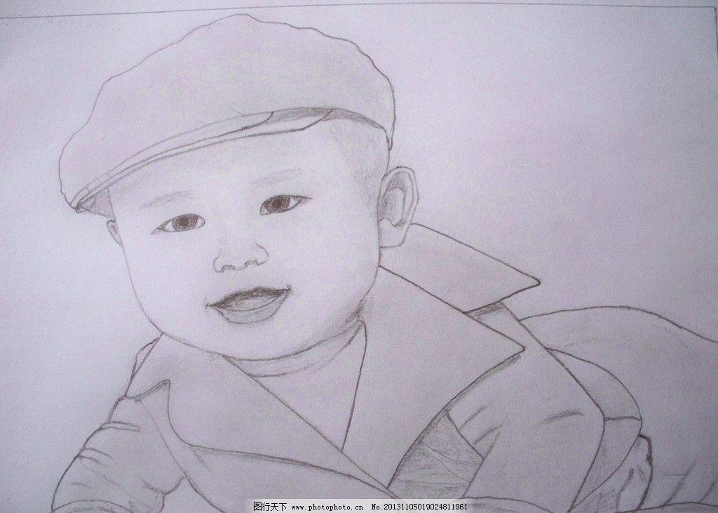 素描 铅笔画 小男孩 戴帽的小男孩 人物 绘画书法 文化艺术 设计 480