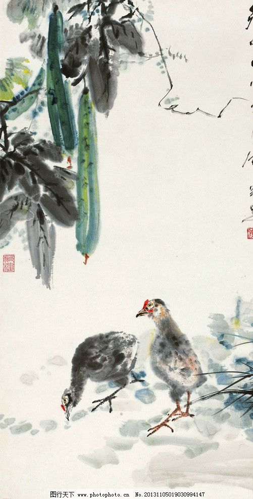 丝瓜小鸡 唐云 国画 丝瓜 小鸡 小鸟 春天 写意 水墨画 花鸟 中国画
