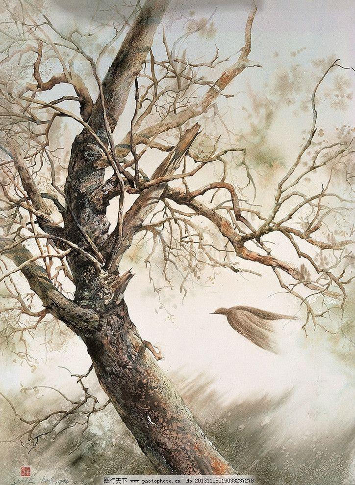 水彩画 水彩 风景 树 鸟 飞翔 绘画书法 文化艺术 设计 100dpi jpg