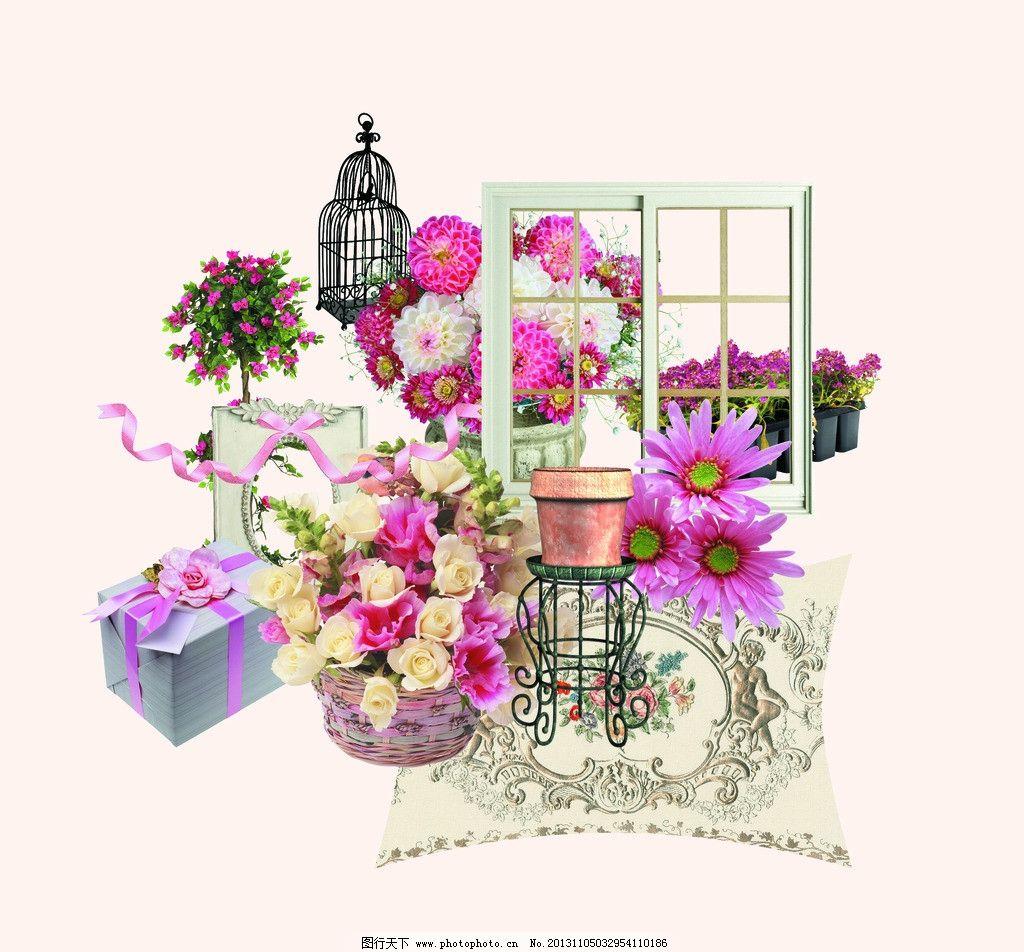 小清新花艺 小清新 花艺 鸟笼 礼盒 盆栽 窗户 背景素材 psd分层素材
