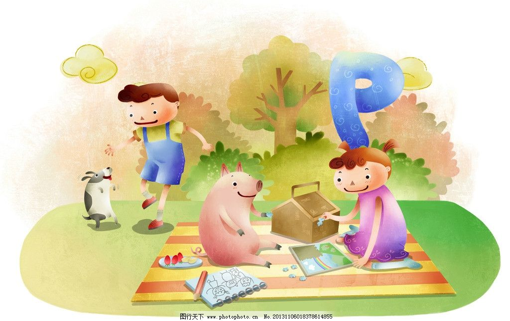卡通人物 卡通 漫画 野餐 小猪 树木 树林 动物 动漫人物 动漫动画