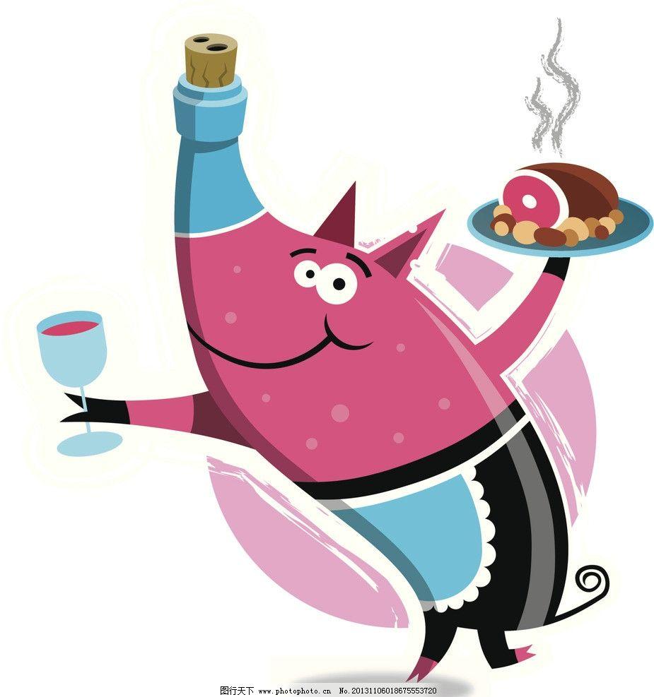 卡通猪 漫画 小猪 粉红 动物 食物 动漫动画