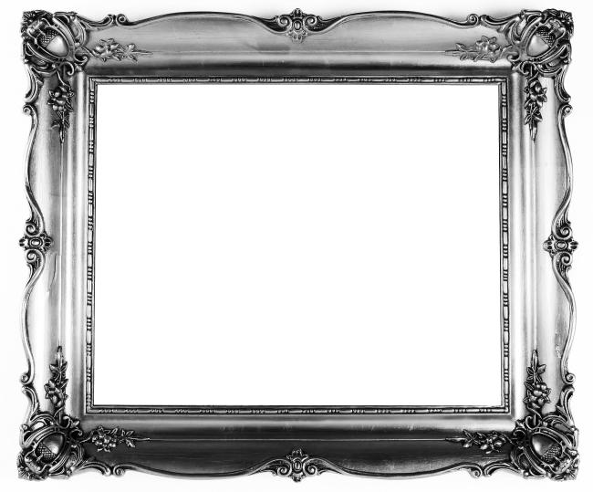 欧式花纹复古银色边框素材