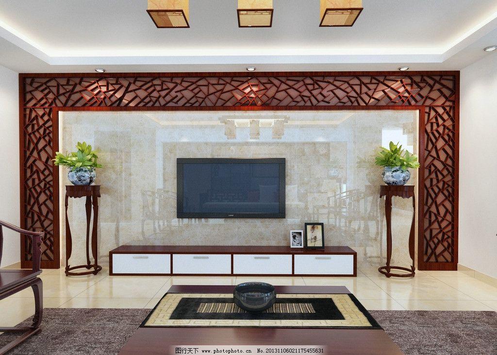 电视墙欧式软包茶镜装饰效果图