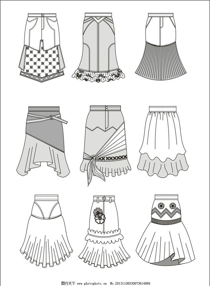 服装款式图 裙子款式图 衣服 服装适量图 矢量