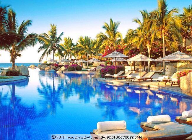游泳池 别墅 大海 度假 风景 国外旅游 海边 海岛 海滩 游泳池图片