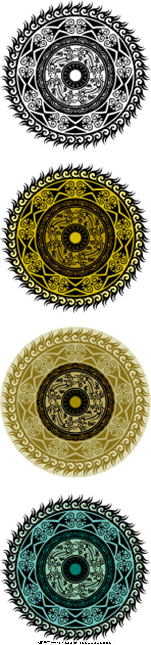 古典瓦当各类图 古典瓦当各类图免费下载 古代图腾 圆形图案 矢量图