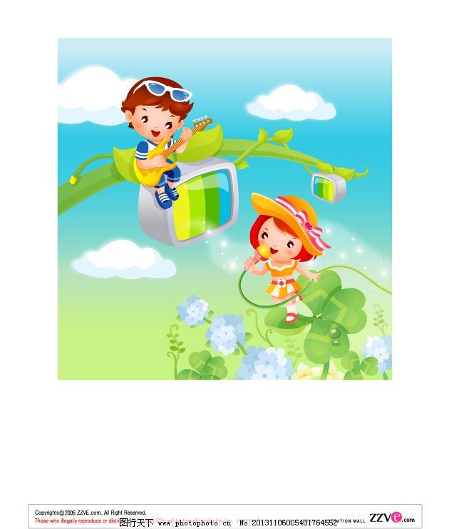 女孩 树枝 天空 幼儿园素材