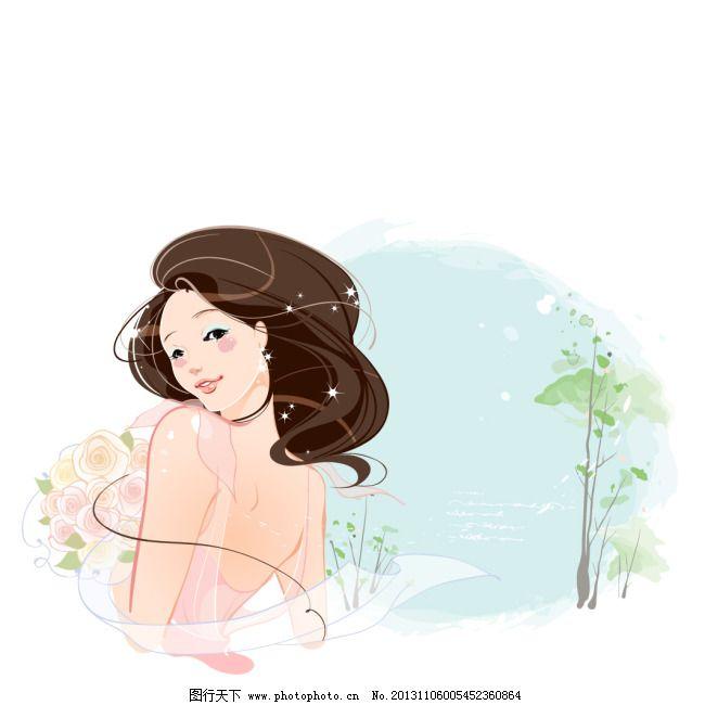 韩国手绘少女插画