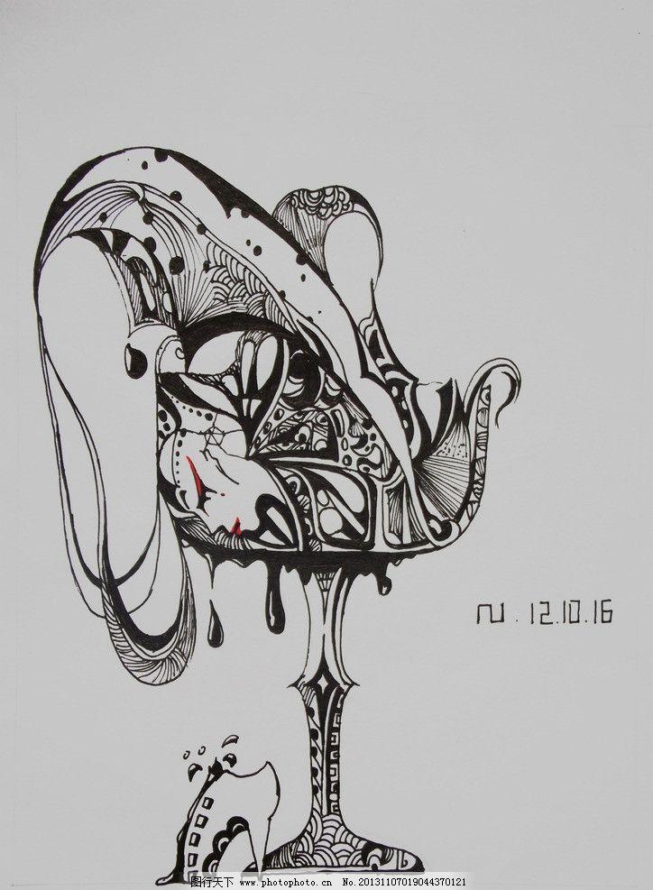 酒杯和女孩 插画 手绘 酒杯 女孩 美图 绘画书法 文化艺术 设计 300