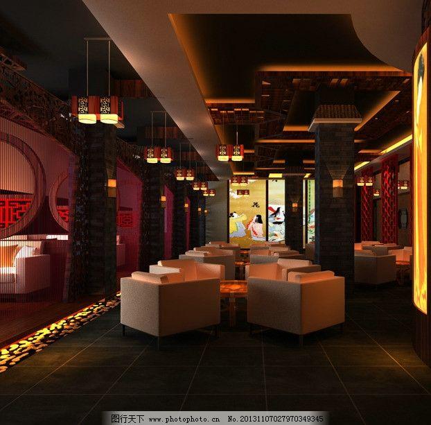 餐厅 屏风 地面 顶面 日式 餐厅大厅 室内设计 环境设计 设计 300dpi