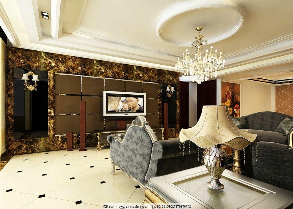 欧式玻璃电视背景墙图片