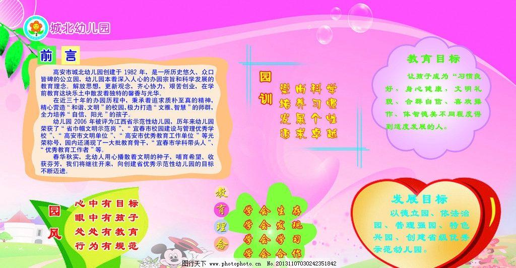 幼儿园宣传栏 公示栏 标语 园训 教育目标 园风 发展目标 展板模板 广