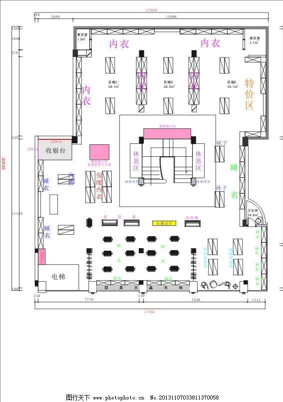 平面布置图 二层平面布置图 平面图 服装店 装修 布置 矢量素材 其他
