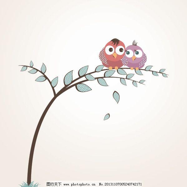 卡通 卡通免费下载 小鸟 小清新 小树 矢量图 花纹花边